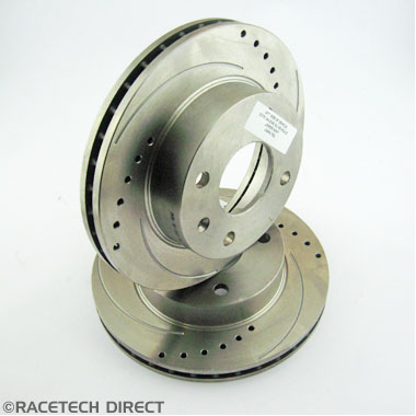 Racetech - Part No. TVR J0001B Brake Disc Front 240mm Drilled and Grooved