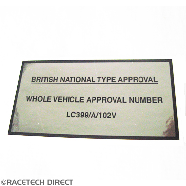 V1440 TVR Type Approval Label Sagaris